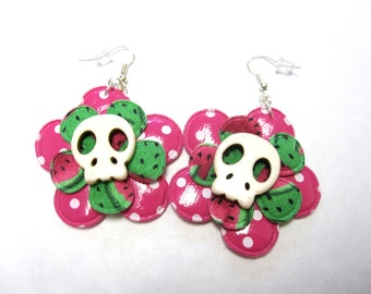 Sugar Skull Earrings Day Of The Dead Jewelry White Pink