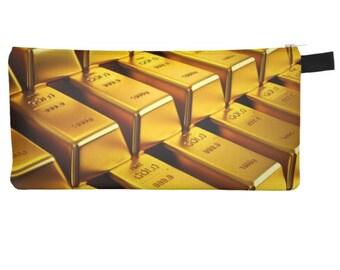 Golden Obsession Bling Cosmetic Pencil Case Gold Bars Makeup Bag Printed Makeup Bag - Urban Street Zipper Case