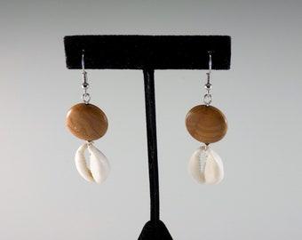 Cowrie Shells & Agate Earrings