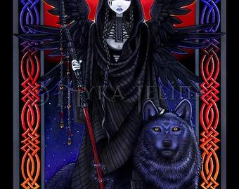 Gothic Guardian Angel Celestial Eclipse Wolf Rayvnwolf Fairy BIG Prints