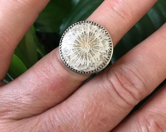 Size 7.5 fossilized coral Sterling silver ring