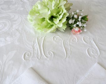 Fine White Damask Tablecloth 6 Matching Dinner Napkins, fleur-de-lis Design, Monogrammed MVL, 72 x 72, Vintage Linens
