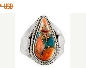 MOTHERS DAY SALE Stunning Authentic Handmade Sterling Silver Sleeping Beauty Turquoise/Spiny Oyster Shell Southwestern Ring Size 9