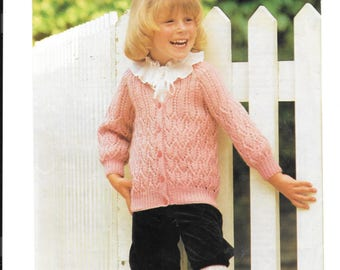 Pretty original Patons pattern for a girls cardigan - double knit wool.  To fit sizes 22-30 inches