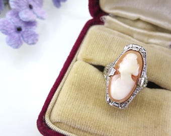 Antique Cameo Ring - 14kt White Gold - Art Deco Jewelry Vintage Rings for Women, Elongated Ring