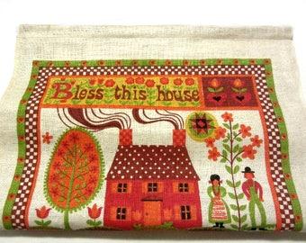 Bless This House 1973 Linen Calendar Towel Pennsylvania Dutch Motif Amish Kitchen Home Decor Art