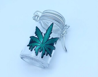 stash jar weed containers stoner airtight smell proof container stoner gifts stash jars weed leaf pot leaf 4:20 smoking accessories weed