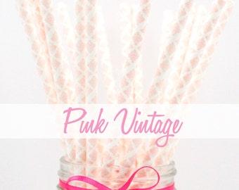 PINK VINTAGE - Pink Vintage Paper Straws - Party Paper Straws - Wedding - Birthday Decorations