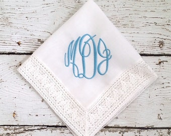 Chapel Lace Monogrammed Something Blue Bridal Embroidered Handkerchief
