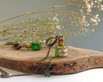 Absinthe bottle Necklace, Absinthe Necklace, Steampunk pendant, Glass Vial Necklace, Potion Bottle, Dracula necklace, Miniature bottle, gift