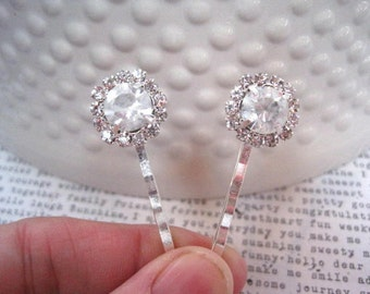 Bobby Pins, Diamond Rhinestone Hairpins, 2 Piece Silver Bobby Pin Set, Fancy Bobby Pins, Bridal Hair Accessory, Hair Bling, Gifts for Women