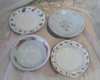 Beautiful Vintage China Salad Bowls mismatched, Mad Hatter China mix,