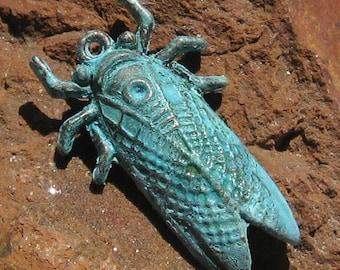 CICADA insect pendant charm , verdigris patina 1 pc