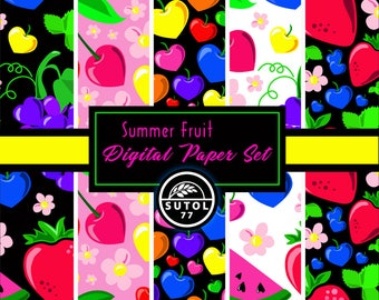 Summer Fruit Digital Paper Set