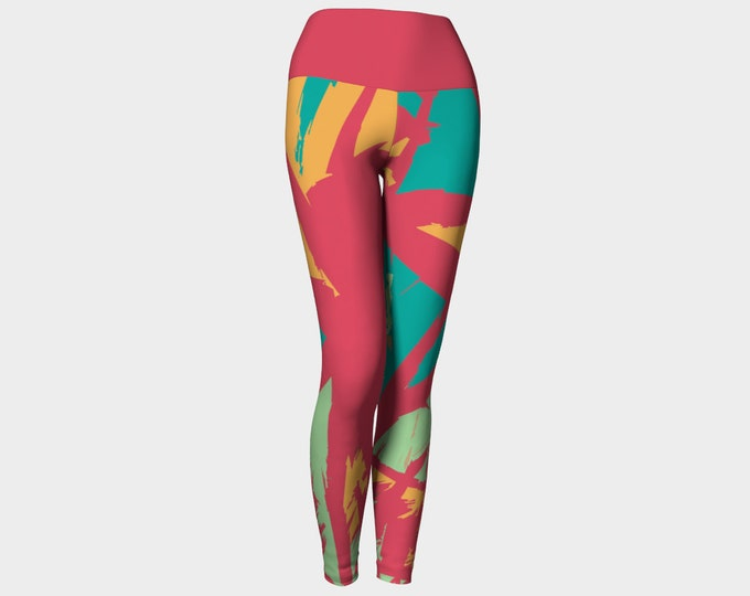Red, Gold, and Teal Abstract Leggings, Yoga Leggings, Yoga Pants, Printed Yoga Pants, Women's Leggings, Leggings, Gift for her