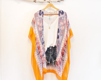 Long bohemian kimono * With tassels * Indian inspired * ORANGE CRUSH *