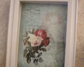 Shabby Chic Vintage Paris / Roses Wood Shadow Box
