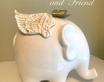 Baby elephant with butterfly hand sculpted angel wings on ceramic white elephant Angel wings nursery memorial