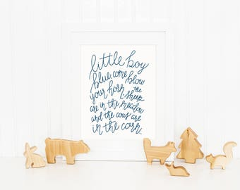 Little Boy Blue Digital Download Art Print, Nursery Rhyme Decor, Nursery Decor, Hand Lettered Lyrics