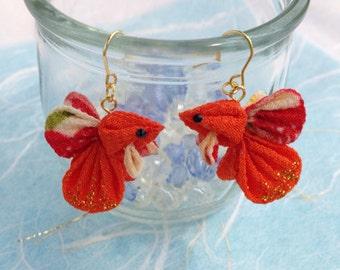 Japanese gold fish earrings