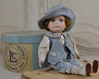 Vintage French Porcelain Doll- French Blue Vintage Doll,French Shabby, French Porcelain Doll