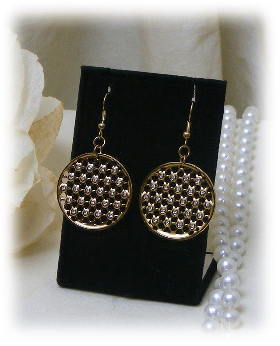 RHINESTONE STUDDED DANGLES . . gold plated stainless steel