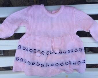 Handmade fine wool dress 9-12 months