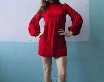 Vtg 60s Red Velvet Poofy Sleeve Dress / Mod Mini Holiday Dress
