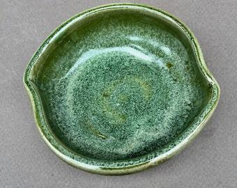 green ceramic pottery bowl- prep bowl- dish-handmade pottery- bowl - serving dish -in stock