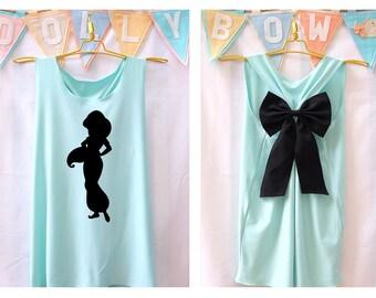 I'm Jasmine Disney Princess Tank Premium with Bow : Workout Shirt - Keep Calm Shirt - Tank Top - Bow Shirt - Razor Back Tank - Disney shirt