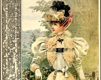 Art Print French Magazine Nouvelle Mode Print 1896
