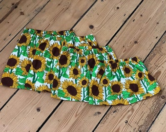 Sunflower design, twirly skirt, toddlers, baby skirt