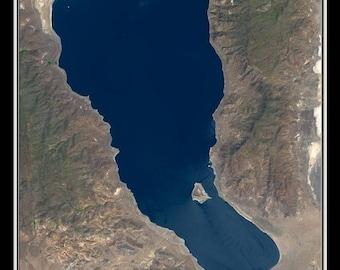 Pyramid Lake Nevada Satellite Poster Map