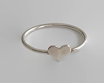 Heart ring, sterling silver, silver heart, stacking ring, thin ring, promise ring