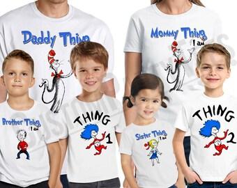 Dr.Seuss Birthday Shirt Add Name & Age Custom Dr.Seuss Birthday Party TShirt Family 03