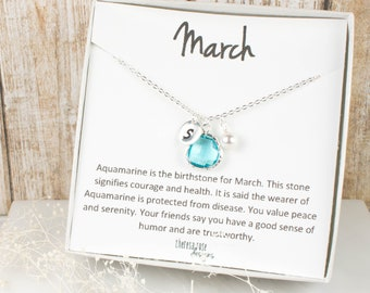 March Birthstone Personalized Silver Necklace, Aquamarine Silver Necklace, Personalized Silver Necklace, March Birthday Gift #869