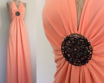 1970's Peach Medallion Polyester Halter Maxi Dress Size XS Small by Maeberry Vintage