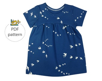 Baby tunic  and dress sewing pattern, PDF sewing pattern, knit fabrics pattern, easy baby pattern, girl's knee length dress pattern