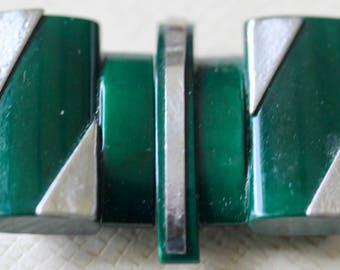 Green Celluloid Buckle with Metal Trim