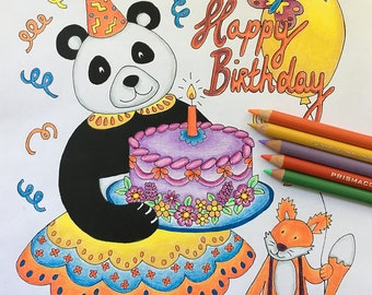 Birthday Card, Coloring Pages for Adults, Adult Colouring Book, Panda Print, Panda Gifts, Panda Clipart, Fox Print, Digital Download, Print