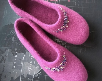"""handmade felted slippers """"My treasures"""", Women house shoes,"""