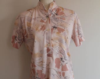 70's Pink Floral Polyester Women's Short Sleeve Blouse