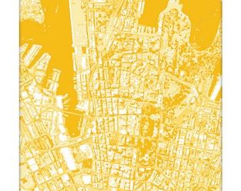 Sydney Cityscape Map Art / Australia City Art Print / 8x10 / Choose your Color