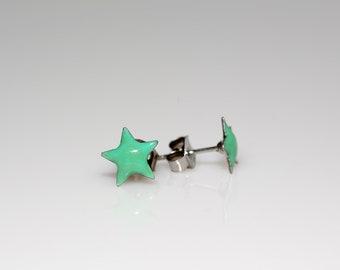 Enameled Star Earrings