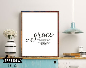 Scripture Printable Art, Scripture Wall Art, Grace Definition, Scripture Print, Typography Print, Bible Verse Art Print, Digital Download