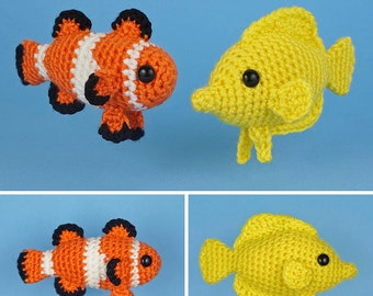 PDF Tropical Fish Set 1 - two amigurumi fish CROCHET PATTERNS Ocellaris Clownfish Yellow Tang Nemo