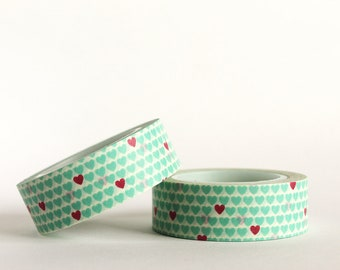 Blue and Red Hearts Washi Tape