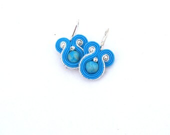 Shades of Ocean Blue Earrings - Small Soutache Earrings - Blue Dangle Round Earrings - Handmade Modern Jewelry , Blue , Soutache , Handmade