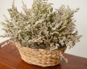 White German Statice Basket,  Mother's Day gift, white dried flower arrangement, spring arrangement, wedding decor