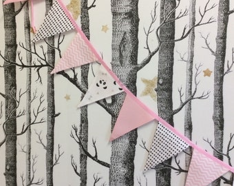 Panda Pink Bunting Baby Toddler Girl Bunting Nursery Bunting also available Panda Pink Quilt